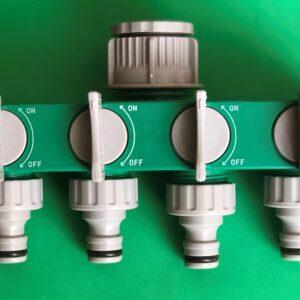 Планка-адаптер распределительная с 4-мя запорными кранами